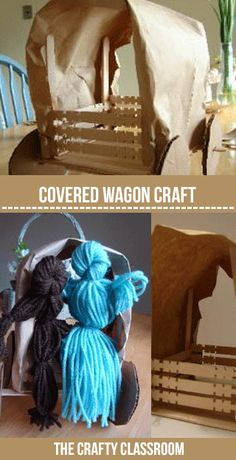 Covered Wagon & Yard Doll Pioneers!  Great for Oregon Trail, Westward Expansion unit study.  Full Photo Tutorial