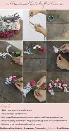 Flower Crowns are not as tricky to make as they look. All you need is floral wire, floral tape, scissors some pretty fowers. That's it! DIY tutorial by @Chris Huckleberry Nicola Karen