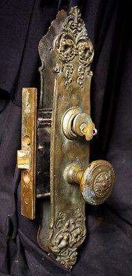 Antique Neo Classical Cast Bronze Exterior Entry Door Set Knobs Plates Lock Key.