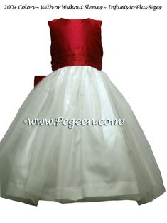 Red Rouge Silk Flower Girl Dresses by PEGEEN Cheap Flowers, Silk Flowers, Red Flower Girl Dresses, Custom Dresses, Ball Gowns, Fashion Dresses, Formal Dresses, Outfits, Style