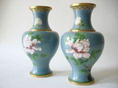 Fine Old Chinese Pair Cloisonne Vases Flowers & Birds Scholar Work Of Art