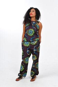 African Print Jumpsuit by Bongolicious1 #Africa #Clothing #Fashion #Ethnic #African #Traditional #Beautiful #Style #Beads #Gele #Kente #Ankara #Africanfashion #Nigerianfashion #Ghanaianfashion #Kenyanfashion #Burundifashion #senegalesefashion #Swahilifashion