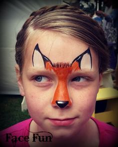 A cute fox face painting design. Painted by Lizz Daley of… - A cute fox face painting design. Painted by Lizz Daley of… - Face Painting Tips, Face Painting For Boys, Body Painting, Face Painting Halloween Kids, Face Painting Tutorials, Simple Face Painting, Halloween Makeup, Easy Face Painting Designs, Dragon Halloween