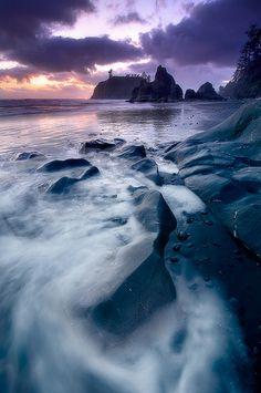 Last Light At Ruby Beach - Pacific Ocean - Washington
