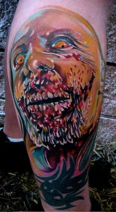 Colourful Zombie Face Design for Zombie Tattoos on Leg