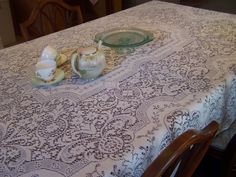 Vintage Quaker Lace Tablecloth, Crisp White, Flaws, Wedding Decor, Intricate Pattern by TeresasTreasuresEtc on Etsy