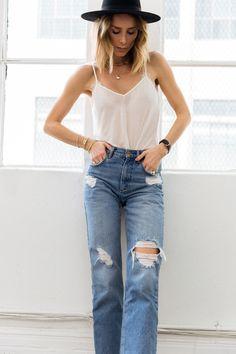 Camisole + Ripped Boyfriend Jeans