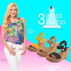 #CklassTips  3 pares a 1 solo precio. Colores básicos para el Verano, usa sandalias de plataforma, te harán lucir sencilla y a la moda, son perfectas para estos días calurosos. www.cklass.com
