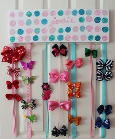 Bow holder. How cute would the polka dots and name be if they were made out of different colors of vinyl!?