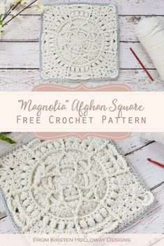 Free Lace Granny Square Pattern This afghan block is full of lace and flower textures! Crochet a beautiful heirloom blanket from this free motif. Crochet Squares Afghan, Crochet Afghans, Crochet Quilt, Crochet Blocks, Afghan Crochet Patterns, Crochet Motif, Crochet Designs, Crochet Cushions, Crochet Pillow