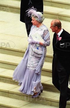 The couple wed on 5pm on Saturday 19th June 1999 in St George's Chapel Windsor.  Their reception followed in the State Apartments at Windsor Castle.  Due to the lateness of the wedding, the couple asked the guests to wear long dresses without hats. The Queen who is rarely seen without a hat at a function chose a lilac feather headpiece and some other senior figure such as the Princess Royal and the Duchess of Kent also added a small headdress.