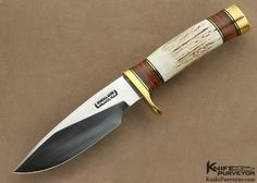 Randall Custom Knife Model 25 Trapper Stag, Stacked Leather and Brass I - Randall Knives custom knife - image 1