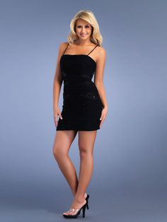 Chiffon Material Spaghetti Straps Neckline Shirring and Rhinestone Accents Cocktail Dress