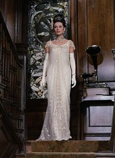 """Audrey Hepburn in My Fair Lady 1964. When Audrey entered the set for the first time in Eliza's ball gown, she was so beautiful the crew and the rest of the cast stood silently gaping at her, then broke out with applause and cheers. """"I have always so badly wanted to be beautiful,"""" Hepburn said to costume designer Cecil Beaton in a letter after viewing photos of herself as Eliza Doolittle. """"Looking at those photographs I saw that, for a short time at least, I am - all because of you."""""""