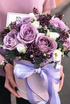 Birthday Wishes Flowers, Happy Birthday Flower, Peonies And Hydrangeas, Lavender Roses, Flower Box Gift, Flower Boxes, Happy Flowers, Pretty Flowers, Purple Flowers