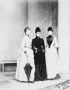 Princess Victoria Mary of Teck with Princess Hélène and Princess Marguerite d'Orleans, Sheen House, June 1889