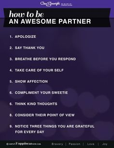 Ways to be a great partner. I'm working on number 4