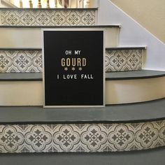 Allison Gharst & Kellie Dooley from Peabody and Sassafras stenciled these stair risers using our Santa Ana Tile Stencil #diy #design #homedecor #wallart