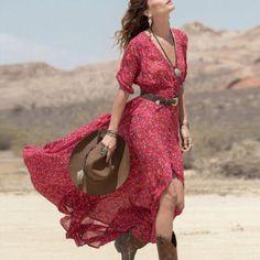Boho Vintage Dress Womens V Neck Chiffon Floral Printed Party Beach Long Maxi Split Tunic Party Dress vestidos Vestido Maxi Floral, Chiffon Floral, Red Floral Dress, Floral Print Maxi Dress, Boho Dress, Dress Red, Red Chiffon, Red Maxi, Dress Casual