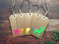 Set of 5 Christmas tags, Neon gift tags, large stag tags, tags and twine, Fluorescent Christmas tags by PinkyPromiseBargains on Etsy