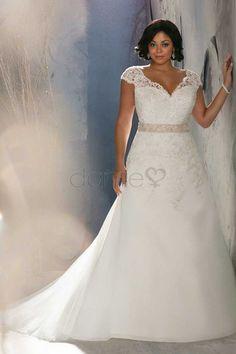 V Ausschnitt gekappte Ärmel A-Linie aufgeblähtes bodenlanges Brautkleider
