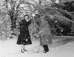 Eleanor vs Buster Keaton snow game <3 (Rochester, NY in 1955.)