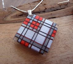 Red and Gray Tartan Thread Wrapped Jewelry Set. from PterylaeDesigns.  >> hard to believe these are made from plexiglass and thread!