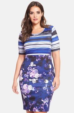 f6ae66c1472  66 ELOQUII Mixed Print Sheath Dress (Plus Size) available at  Nordstrom  Plus Size