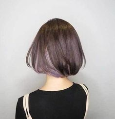 Dark-Bob-with-Blonde-Underneath Short Brown Hairstyles for Fashionable Women Short Bob Haircuts, Cute Hairstyles For Short Hair, Bob Hairstyles, Haircut Bob, Trendy Hair, Japanese Short Hairstyle, Asian Bob Haircut, Easy Hairstyle, Hairstyle Ideas