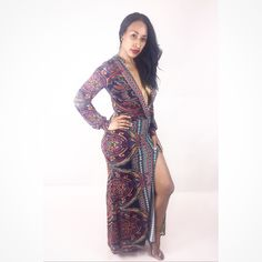 Paulina Maxi Dress...printed maxi dress with deep v shape plunging neckline with side slit. Shop this sexy look at lovekrushboutique.com