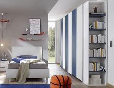 Armoire bleue et blanche design NATHEO 3 Armoire Design, Bookcase, Kids Room, Shelves, Home Decor, Blue Cabinets, Room Kids, Shelving, Decoration Home