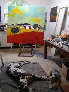 Acrylic on stretched canvas by artist glendine pamela's art studio в 2 Atelier Creation, Painters Studio, Picasso Paintings, Oeuvre D'art, Art Studios, Artist At Work, Painting Inspiration, Les Oeuvres, Cool Art