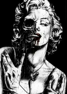 Marilyn Monroe, skull, and art image Marilyn Monroe Artwork, Marilyn Monroe Tattoo, Dark Fantasy Art, Dark Art, Art Zombie, Tattoo Caveira, Rock Poster, Arte Punk, Catrina Tattoo
