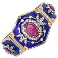 Victorian Ruby, Diamond and Enamel Cuff