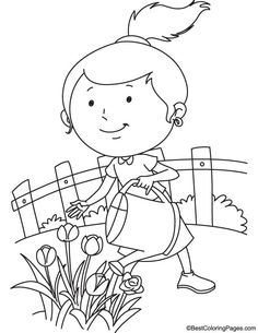 Watering the tulips coloring page