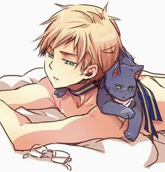 Sweden and Sweden cat ^_^ (<3) he looks very boyish with out his glasses