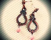 Antique Copper Tulip Design Earrings Opaque Vintage Pink Stone Nautical Ear Post Scallop
