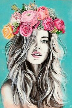 joliment, dessin, fleurs, fille, Tumblr