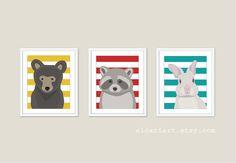 Woodland Animals  Bear Raccoon Rabbit  Nursery Wall by AldariArt