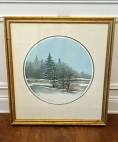 """ARNOLD ALANIZ SIGNED Gold FRAMED """"WINTER"""" 97/175 PRINT Landscape Trees Seasons The Mysterious Island, Ornate Picture Frames, Litho Print, Vintage Landscape, Classic Gold, Winter Pictures, Winter Trees, Four Seasons, Painting"""