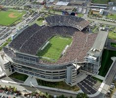 Penn State Nittany Lions low aerial of Beaver Stadium