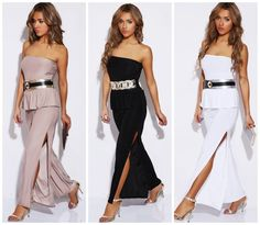 Strapless Ruffle Peplum High Slit Flare Leg Jumpsuit Taupe, Black, White USA $79 #W #Jumpsuit