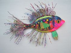 Fish art sculpture whimsical wall fish art