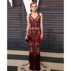 """""""Fresh off the runway, Diane Kruger wears a sleeveless maroon gown with fringe detail from the #ReemAcra #Fall2016 Collection at the 2016 Vanity Fair Oscar party.  #Oscars #DianeKruger #VanityFair"""" Photo taken by @reem_acra on Instagram, pinned via the InstaPin iOS App! http://www.instapinapp.com (02/29/2016)"""