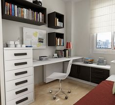 gostei dos nichos nas paredes, da mesma cor das portas de  correr, os móveis dispostos para aproveitar o pouco espaço do quarto