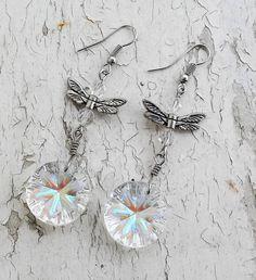 Carnival Glass Dangle Earrings Jewelry by ObscuredOdditiess on Etsy