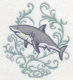 Great White Shark and Echo Embroidered Terry Kitchen Towel