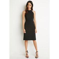 Forever 21 Side-Slit Sheath Dress (€25) ❤ liked on Polyvore featuring dresses, full length dress, white full length dress, white sheath dress, forever 21 and sheath dress