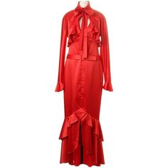 Pre-owned Dress with bolero jacket ($175) ❤ liked on Polyvore featuring dresses, red, pre owned dresses, red ruffle dress, ruffle dress, red cocktail dress and red flounce dress
