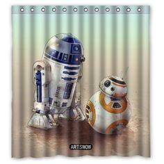 ARTSWOW Star Wars R2D2 And BB 8 Custom Waterproof Bathroom 100 Polyester Fabric Shower Curtain 60